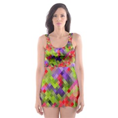 Colorful Mosaic Skater Dress Swimsuit by DanaeStudio