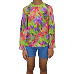Colorful Mosaic Kid s Long Sleeve Swimwear