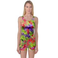 Colorful Mosaic One Piece Boyleg Swimsuit