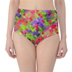 Colorful Mosaic High Waist Bikini Bottoms