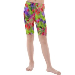 Colorful Mosaic Kid s Mid Length Swim Shorts by DanaeStudio