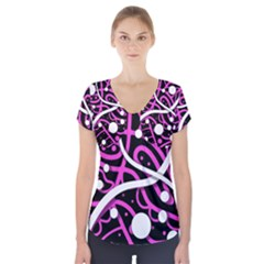 Purple Harmony Short Sleeve Front Detail Top by Valentinaart