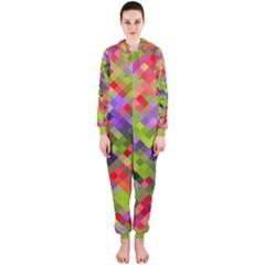 Colorful Mosaic Hooded Jumpsuit (ladies)