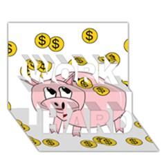 Piggy Bank  Work Hard 3d Greeting Card (7x5) by Valentinaart
