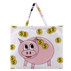 Piggy Bank  Zipper Large Tote Bag by Valentinaart