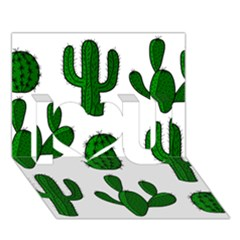 Cactuses Pattern I Love You 3d Greeting Card (7x5) by Valentinaart