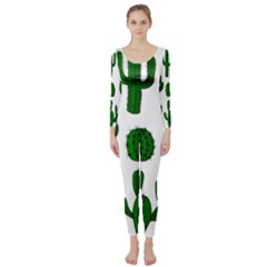 Cactuses Pattern Long Sleeve Catsuit by Valentinaart