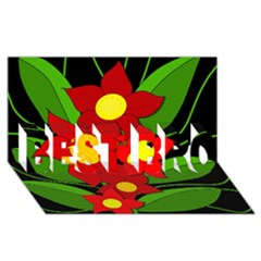 Red Flowers Best Bro 3d Greeting Card (8x4)