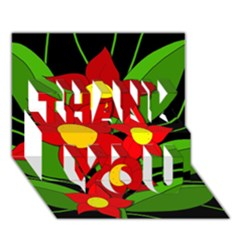 Red Flowers Thank You 3d Greeting Card (7x5)