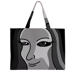 Lady   Gray Zipper Large Tote Bag by Valentinaart