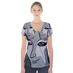 Lady - gray Short Sleeve Front Detail Top by Valentinaart