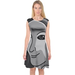 Lady - gray Capsleeve Midi Dress by Valentinaart