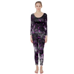 Black, Pink And Purple Splatter Pattern Long Sleeve Catsuit by traceyleeartdesigns
