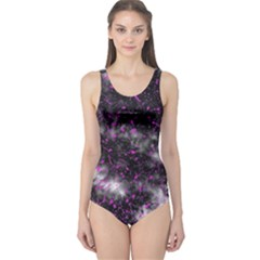 Black, Pink And Purple Splatter Pattern One Piece Swimsuit