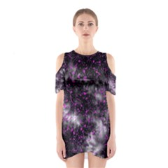 Black, Pink And Purple Splatter Pattern Cutout Shoulder Dress by traceyleeartdesigns