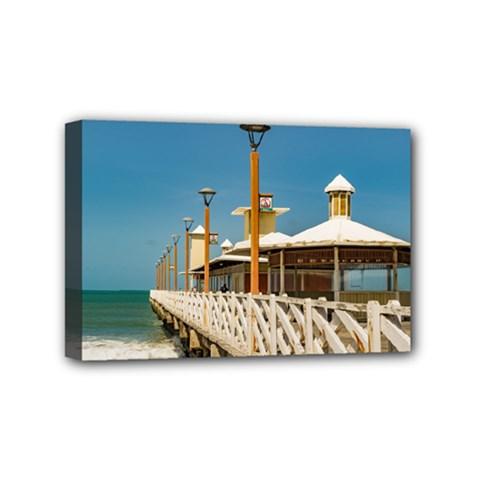 Breakwater Walkway At Fortaleza Beach Mini Canvas 6  X 4  by dflcprints
