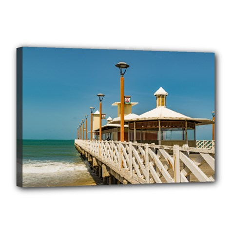 Breakwater Walkway At Fortaleza Beach Canvas 18  X 12  by dflcprints