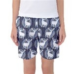 Geometric Deer Retro Pattern Women s Basketball Shorts