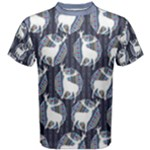 Geometric Deer Retro Pattern Men s Cotton Tee