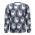Geometric Deer Retro Pattern Men s Long Sleeve Tee