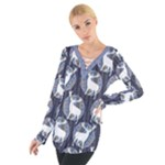 Geometric Deer Retro Pattern Women s Tie Up Tee