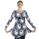 Geometric Deer Retro Pattern Long Sleeve Tunic
