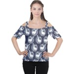 Geometric Deer Retro Pattern Women s Cutout Shoulder Tee