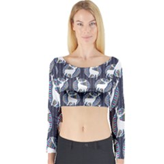 Geometric Deer Retro Pattern Long Sleeve Crop Top (tight Fit) by DanaeStudio