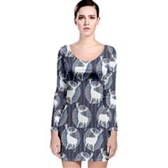 Geometric Deer Retro Pattern Long Sleeve Velvet Bodycon Dress