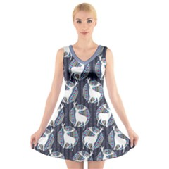 Geometric Deer Retro Pattern V Neck Sleeveless Dress by DanaeStudio