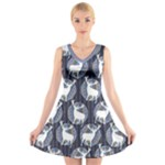 Geometric Deer Retro Pattern V-Neck Sleeveless Dress