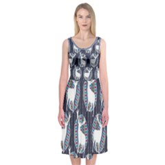 Geometric Deer Retro Pattern Midi Sleeveless Dress by DanaeStudio