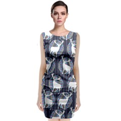 Geometric Deer Retro Pattern Classic Sleeveless Midi Dress by DanaeStudio