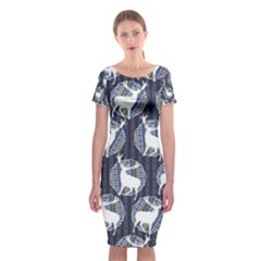 Geometric Deer Retro Pattern Classic Short Sleeve Midi Dress by DanaeStudio