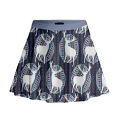 Geometric Deer Retro Pattern Mini Flare Skirt by DanaeStudio