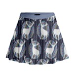 Geometric Deer Retro Pattern Mini Flare Skirt