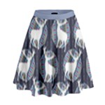 Geometric Deer Retro Pattern High Waist Skirt