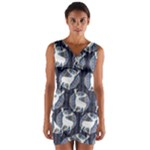 Geometric Deer Retro Pattern Wrap Front Bodycon Dress