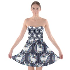 Geometric Deer Retro Pattern Strapless Bra Top Dress by DanaeStudio