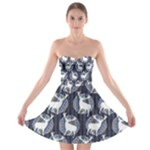 Geometric Deer Retro Pattern Strapless Bra Top Dress