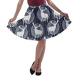 Geometric Deer Retro Pattern A-line Skater Skirt