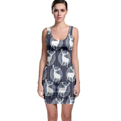 Geometric Deer Retro Pattern Bodycon Dress by DanaeStudio