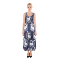 Geometric Deer Retro Pattern Sleeveless Maxi Dress by DanaeStudio