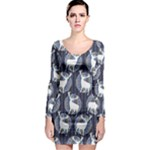 Geometric Deer Retro Pattern Long Sleeve Bodycon Dress