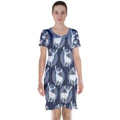 Geometric Deer Retro Pattern Short Sleeve Nightdress