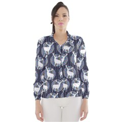 Geometric Deer Retro Pattern Wind Breaker (women) by DanaeStudio