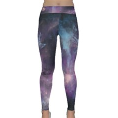 Blue Galaxy Yoga Leggings  by DanaeStudio