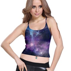 Blue Galaxy Spaghetti Strap Bra Top
