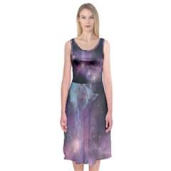 Blue Galaxy Midi Sleeveless Dress
