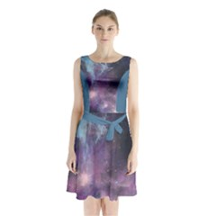 Blue Galaxy Sleeveless Chiffon Waist Tie Dress by DanaeStudio